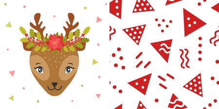 Rabbit or hare with Christmas wreaths on the head. Cute Christmas animal and background for childrens holiday or christmas for party decoration, wrapping paper, wallpaper, cards, invitations and greetings