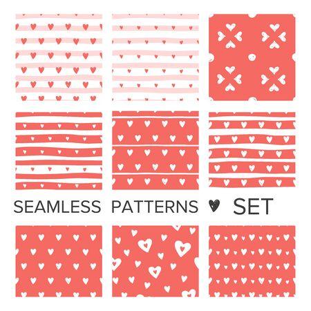 Coral pink hearts seamless pattern set. Vector doodle illustration