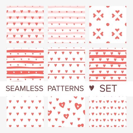Coral pink hearts seamless pattern set. Vector doodle illustration