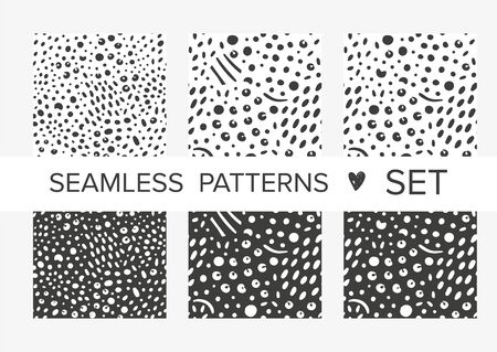 Simple animalistic abstract seamless patterns with spots and dots. Background for decoration, wrapping paper, wallpaper, cards and greetings. Minimalistic wild style two colors