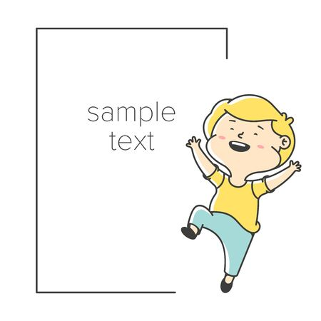 Happy little boy jumps. Card greeting template. Childrens information message