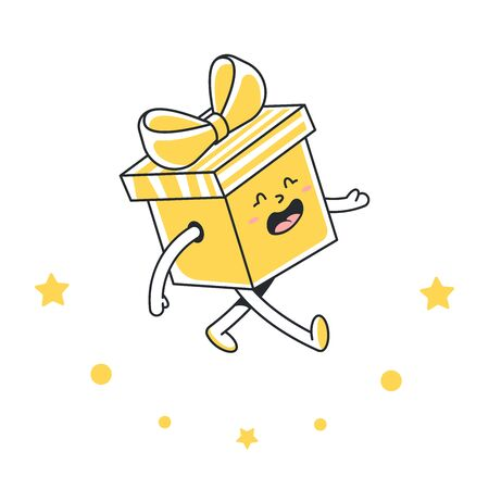 Gift box with a bow. Holiday present alive. Vector llustration isolated on white background