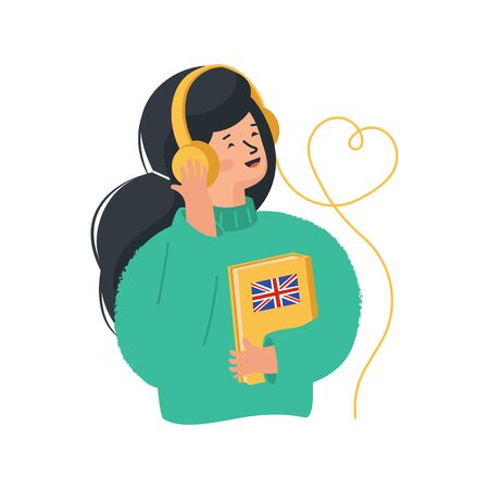 Online education concept. Girl listens to foreign language exercises by headphones. Online library.