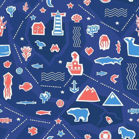 Sea ocean simple styling seamless pattern print. Two color. Print for kids t-shirt and sea style souvenirs. Cut out from paper applique