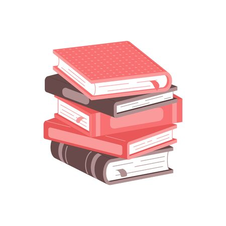 Stack of books on a white background. Pile of books vector illustration. Icon stack of books in flat style. Ilustracja