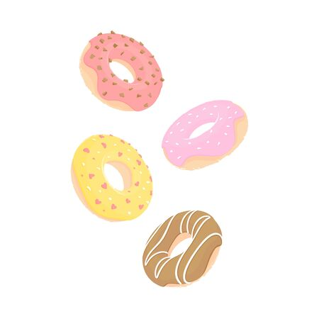 Four doughnuts with pink, yellow, red and chocolate icing fly