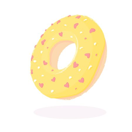 Donut with yellow icing and hearts isolated on a white background 矢量图像