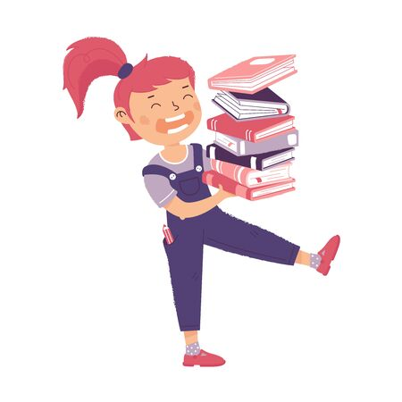 Girl carries a stack of books