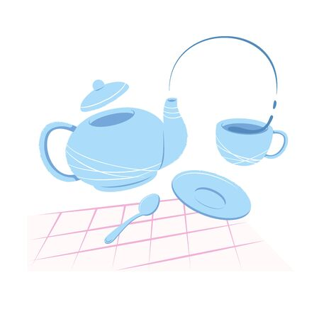 The teapot pours tea into a mug. The concept of a hospitable tea party. Welcome drink