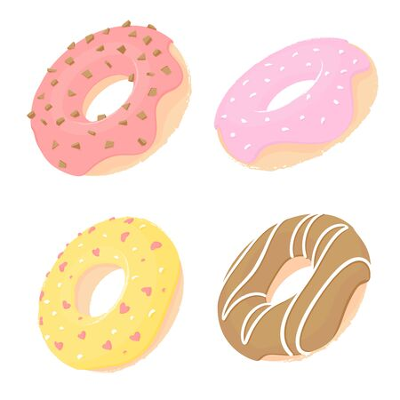 Four doughnuts with pink, yellow, red and chocolate icing isolated on white background