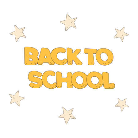 Back to school text with stars. Template for advertising flyer or advertisings