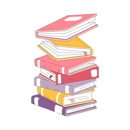 Stack of books isolated on white background. Pile of books vector illustration cartoon style.
