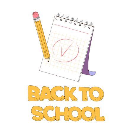 A notepad for taking notes. The pencil writing note. Mark done. Vector illustration isolated on a white background. Back to school concept