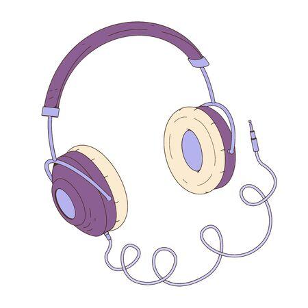 Purple headphones. Vector illustration in cartoon style. Online education concept 矢量图像