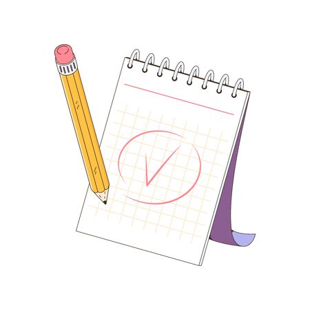 A notepad for taking notes. The pencil writing note. Mark done. Vector illustration isolated on a white background