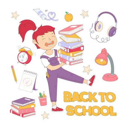 Girl carries stack of books. Female character holding pile of book. The concept of training, education, literary festival. school supplies. Back to school concept