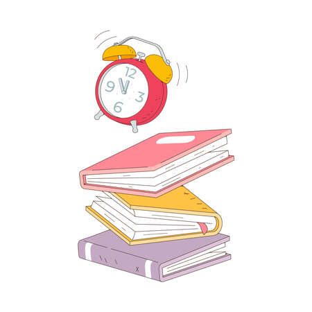 Stack of books fall isolated on white background. Pile of books vector illustration cartoon style.