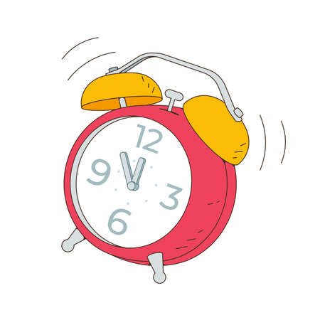 The alarm clock is ringing. Vector illustration isolated on white background.