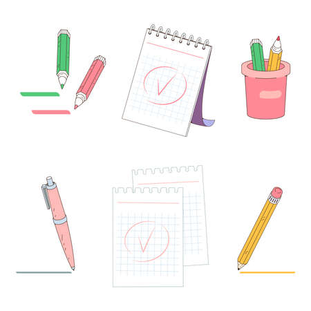 A notepad for taking notes. The pencil writing note. Mark done. Vector illustration isolated on a white background.