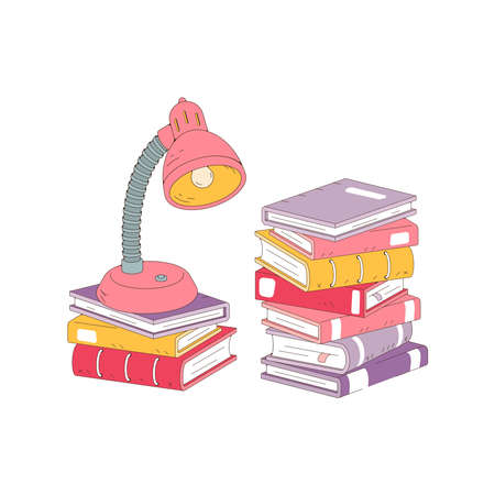 Stack of books and desk lamp isolated on white background. Pile of books vector illustration cartoon style