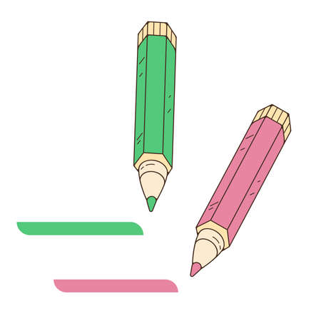 The pencil writing note. Mark done. Vector illustration isolated on a white background