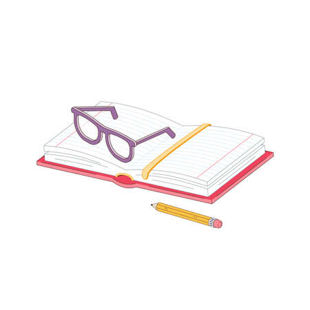 Open notebook lies on the table with glasses and a pencil. Vector illustration isolated on a white background 矢量图像
