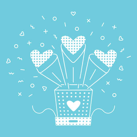 Gift box with flying hearts. The holiday gift is wrapped in paper. Vector line art isolated on white background