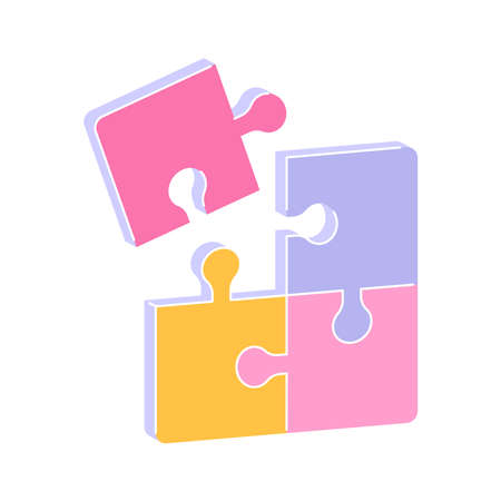 Puzzle pieces illustration vector on white background 矢量图像