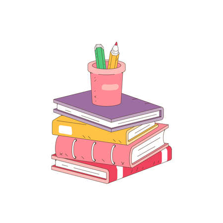Stack of books and pencils on white background. Pile of books vector illustration cartoon style