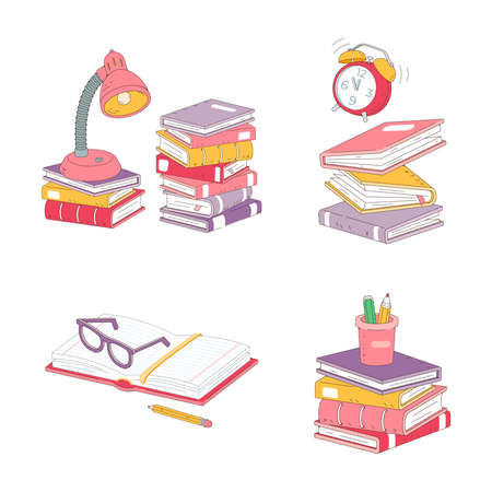 Stack of books, desk lamp, glasses, and a pencil on the table. The students workplace in the classroom or at home