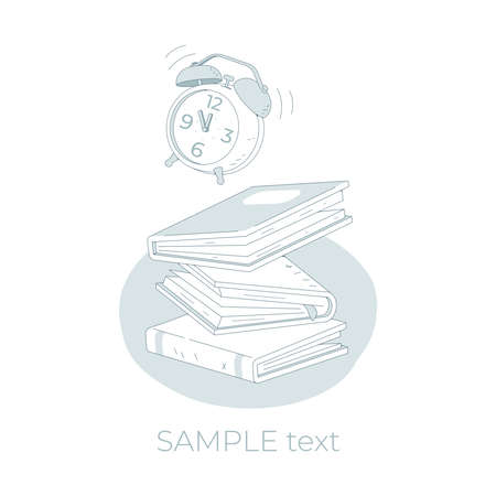 Stack of books and alarm clock fall isolated on white background. Pile of books vector illustration cartoon style