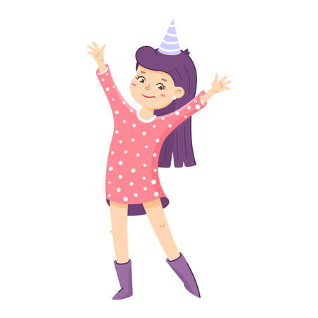 Girl is waving by hand. Welcome sign for the party. Birthday invitation