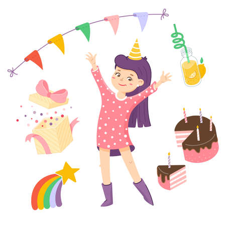 Girl is waving by hand. Welcome sign for the party. Birthday invitation clipart
