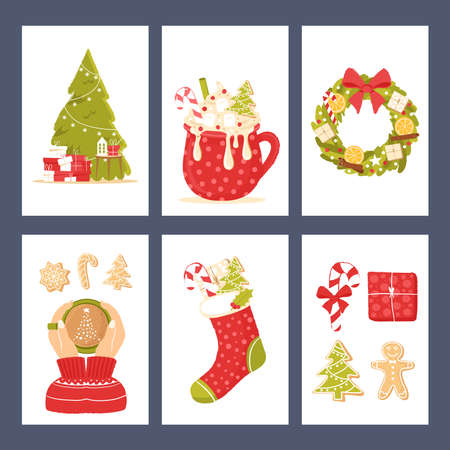 Set of cards with Christmas clipart and holiday attributes. Set of greeting or invitation cards for New Year celebration