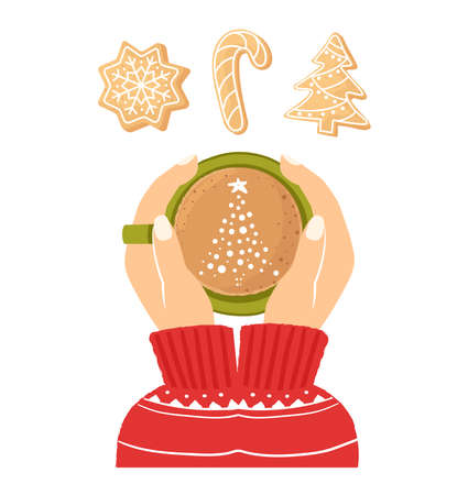 Womens hands holding a cup of coffee. Christmas card with a Cup of cocoa. The concept of a cozy new year cafe. Top view. Christmas ginger cookies. Homemade cookies for the new year. Seasonal clipart