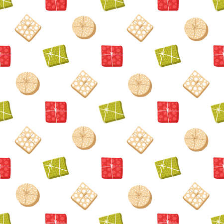 Colorful gift boxes for holiday celebrations seamless pattern. Christmas, new year gifts. Background for greeting cards for invitation, frame corner isolated on white background 矢量图像