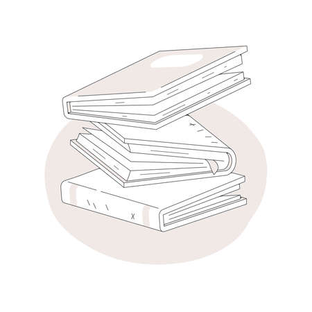 Stack of books fall isolated on white background. Pile of books vector illustration cartoon style