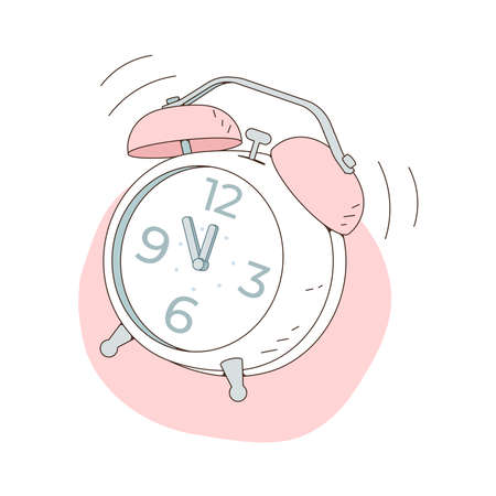 The alarm clock is ringing at noon. Vector illustration isolated on white background