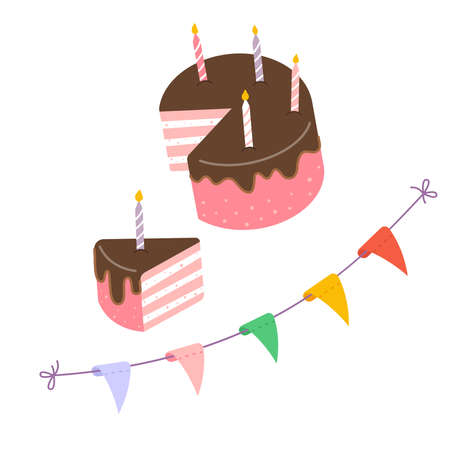 Birthday cake and candles, party flags. Illustration done in cartoon style. Greeting card for birthday 矢量图像