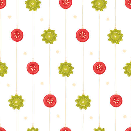 Collection of Christmas decorations, set of Christmas toys. Seamless pattern for holiday cards, tags and greeting cards