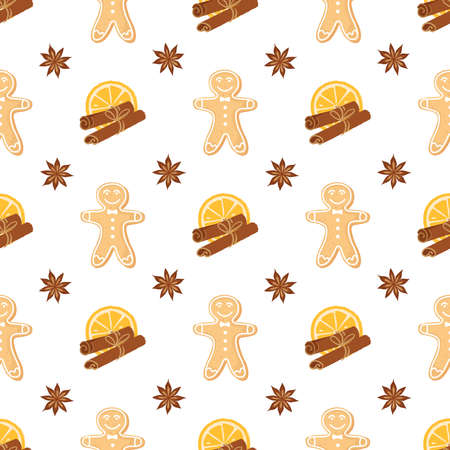 Seamless pattern of ginger cookies, anise, oranges and cinnamon. Homemade cookies for the new year. Holiday background for wrapping paper or greeting cards