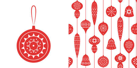 Christmas red seamless pattern with balls and icicles for holiday celebrations Scandinavian Nordic style. Christmas, new year decor. Collection of Christmas toys with simple decoration