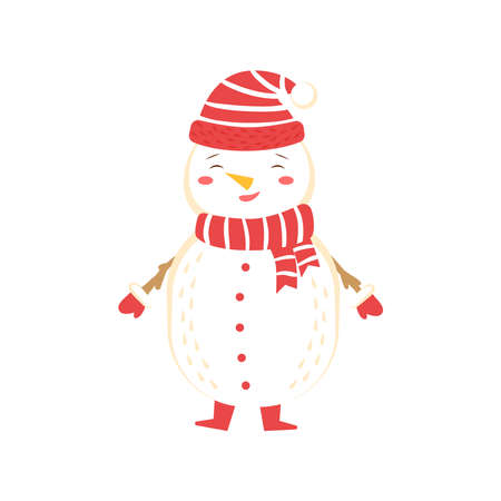 Snowman wear warm hat, scarf and mittens. Vector illustration on white background, isolated snowman for christmas decor