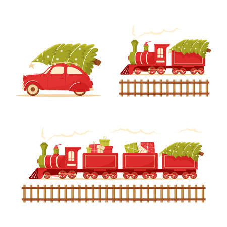 Christmas train and car carries a Christmas tree. Christmas toy locomotive for holiday cards, tags and greeting cards. Christmas tree on roof of a red retro car. Cute postcard with new year and Christmas.