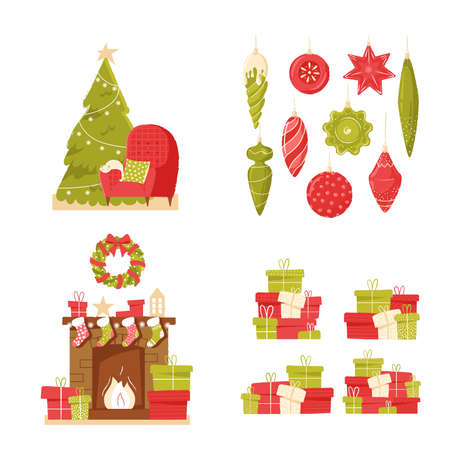 Classic brick fireplace and christmas tree with Christmas socks, presents and gifts on a neutral background. Cozy new year's interior. New year vector illustration in flat style for web banner, greeting cards or tags.