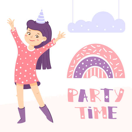 Party greeting card with girl and rainbow. Girl is waving by hand. Welcome sign for the party. Birthday invitation. Illustration in cartoon style
