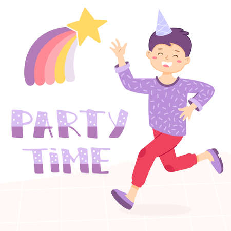 Boy is waving by hand and runs. Welcome sign for the party. Birthday invitation