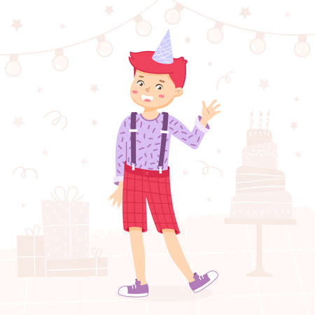 Boy is waving by hand and smiling. Welcome sign for the party. Birthday invitation