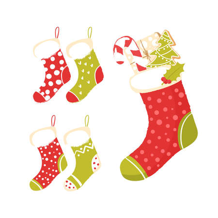 Christmas sock with gifts isolated on white background. Christmas gift, candy, holly branch