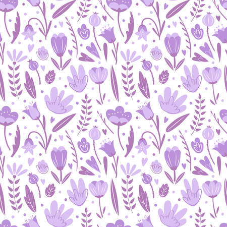 Seamless pattern with flowers for greeting card. To birthday celebrate, Valentines day. Romantic postcard. Vector backgdound on white background 矢量图像